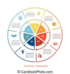 Template infographic seven position form of circle parts