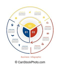 Template infographic three position form of circle parts