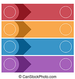 Template infographics from colorful strips for 4 positions