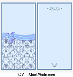 Template invitation card with a satin ribbon and bow with Victorian pattern.