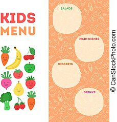 border template with kids and fruits illustration