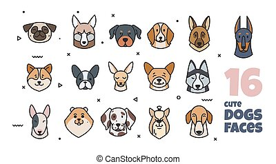 Template label design with different breeds of dogs. The dog...