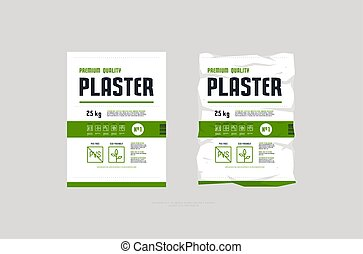 Template label for interior plaster packaging