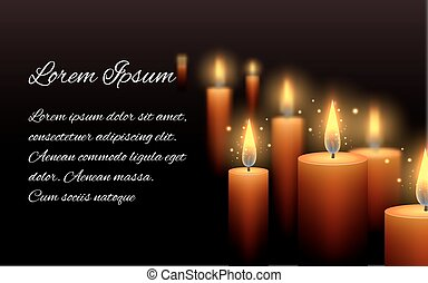 Template letter of condolence with burning candle in the...