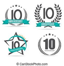 Template Logo 10 Years Anniversary Set Vector Illustration