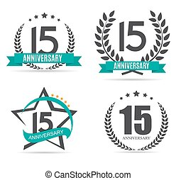 Template Logo 15 Years Anniversary Set Vector Illustration...