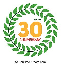 Template Logo 30 Anniversary in Laurel Wreath Vector...