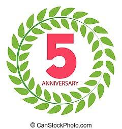 Template Logo 5 Anniversary in Laurel Wreath Vector Illustration
