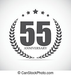 Template Logo 55 Years Anniversary Vector Illustration