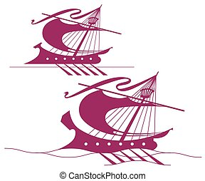 Template logo. Ancient ship on the waves.