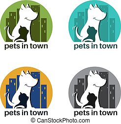 Template logo design with dog and cat in town for pet theme. Vector illustration