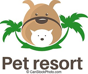 Template logo design with dog, cat and palm trees for pet resort theme. Vector illustration