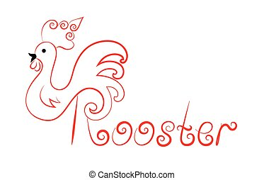 template logo red Rooster with swirls with the word vintage style