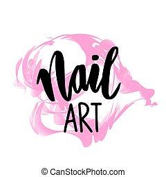 template., logotipo, diseño, mano, dibujado, clavo, arte