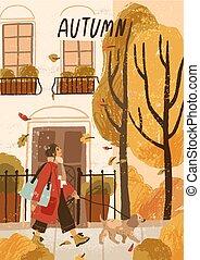 template., marche, layout., carte, femme, typography., illustration, fille souriante, automne, main, jeune, carte postale, pet., dessiné, salutation, affiche, feuille, vecteur, automne, chien, extérieur, promenade, saisonnier, humeur