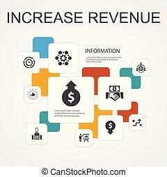 template., meglio, ridurre, strategia, 10, linea, prezzi, infographic, spese, reddito, aumento, icone, aumento, semplice, pratiche