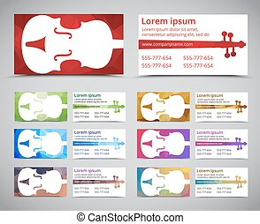 Template music polygonal cards