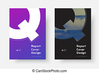 "Template of an annual report cover vector with a silhouette of the letter ""Q"" for a photo."
