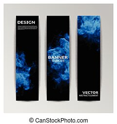 Template of banner with abstract smoky shapes