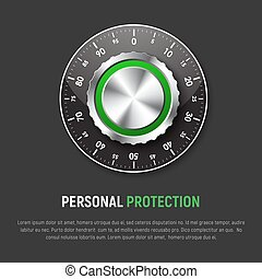 Template of black square banner with mechanical combination lock. Design for a web site, protection of personal information, maps, clouds, e-mail. Vector