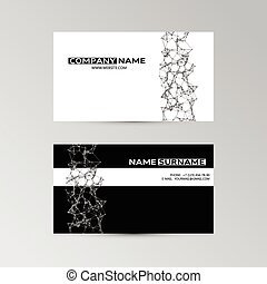 Template of business card with abstract elements