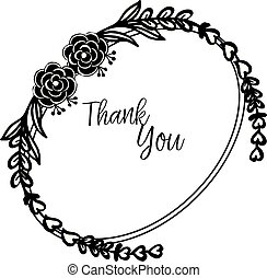 Template of card thank you, with texture elegant floral frame. Vector
