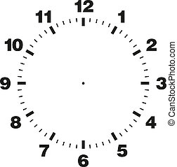 Template of clock dial - White and black vector template of...