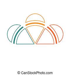 Template of colorful semicircle from lines for infographics...