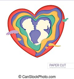 Template of greeting card with shape of kissing couple. Realistic multi layers, carving of paper. Print template for cards with paper-cut shapes of heart, modern abstract design. 3D Illustration