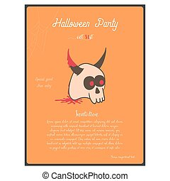 Template of Halloween party invitation card. Concept with horned skull on the orange background.