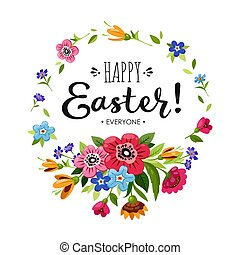 Template of Happy Easter card. Lettering Happy Easter...