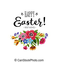 Template of Happy Easter card with bouquet of flowers and...