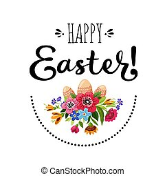Template of Happy Easter card with bouquet of flowers, eggs...
