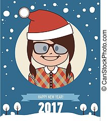 Template of hipster holiday postcard. New Year 2017 card.