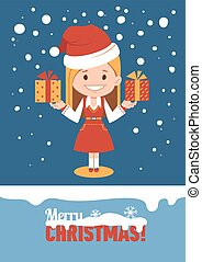 Template of holiday postcard. Merry Christmas card.