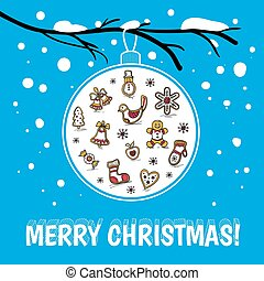 Template of holiday postcard with glass ball. Merry Christmas card.