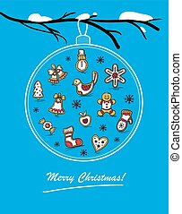 Template of holiday postcard with glass ball. Merry...