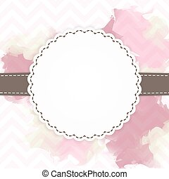 Template of pink and brown greeting card