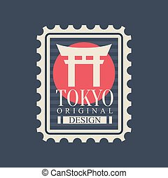 Template of postage stamp with most famous landmark of...