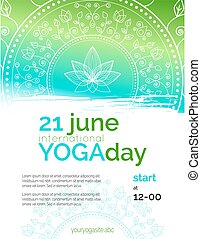 Template of poster for Yoga Day. - Vector yoga illustration...