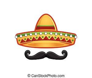Sombrero and mustache icon template
