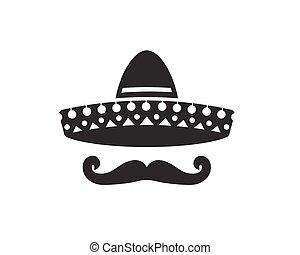 Sombrero silhouette, hat and mustache