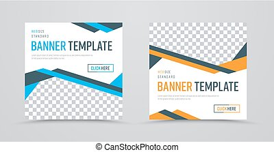 template of square banners with colored abstract lines and a place for a photo