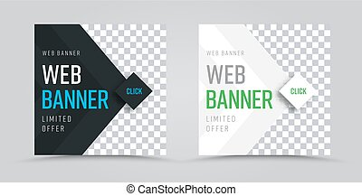 template of white web banners with a place for photos in the