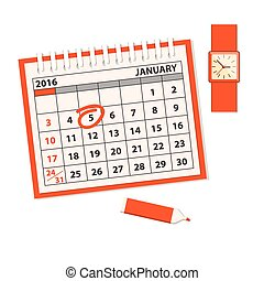 template of the calendar with clock