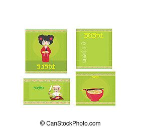 traditional Japanese food menu set