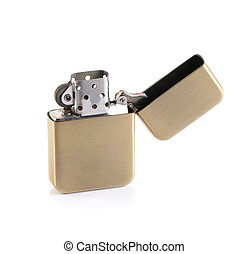 template of vintage gold zippo style lighter for branding on a white background