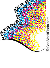 wavy CMYK spots with copy space vertical - template of wavy...