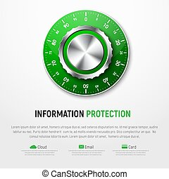 Template of white banner with green mechanical combination lock. Design for a web site, protection of personal information, maps, clouds, e-mail.