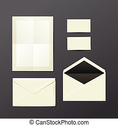 template of white Envelopes, paper and postage stamps